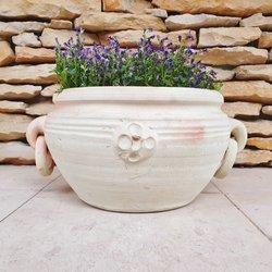 Donica ceramiczna o prostym subtelnym wzorze