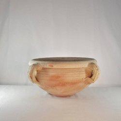 Niska, płaska donica ceramiczna, doniczka gliniana balkonowa.